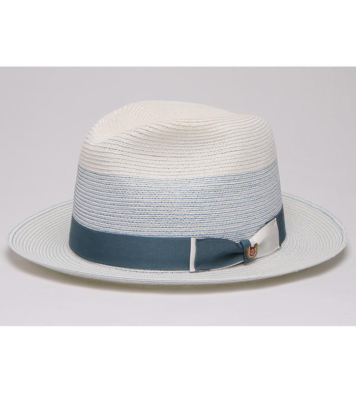 """Sweet Pastels"" Straw Fedora,BS 5747SWPA-WHT/BLUE"