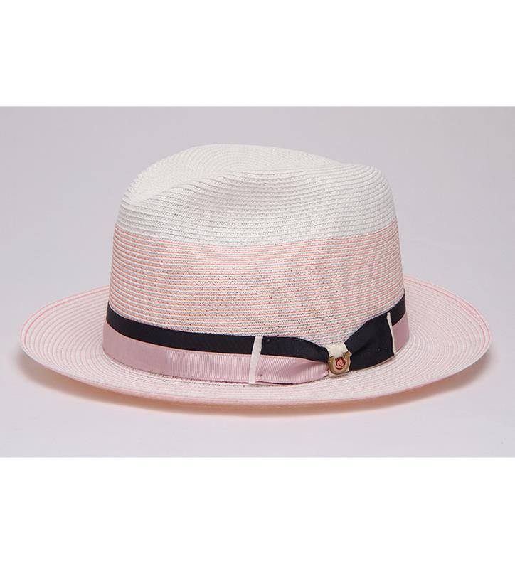 """Sweet Pastels"" Straw Fedora,BS 5747SWPA-WHT/PINK"