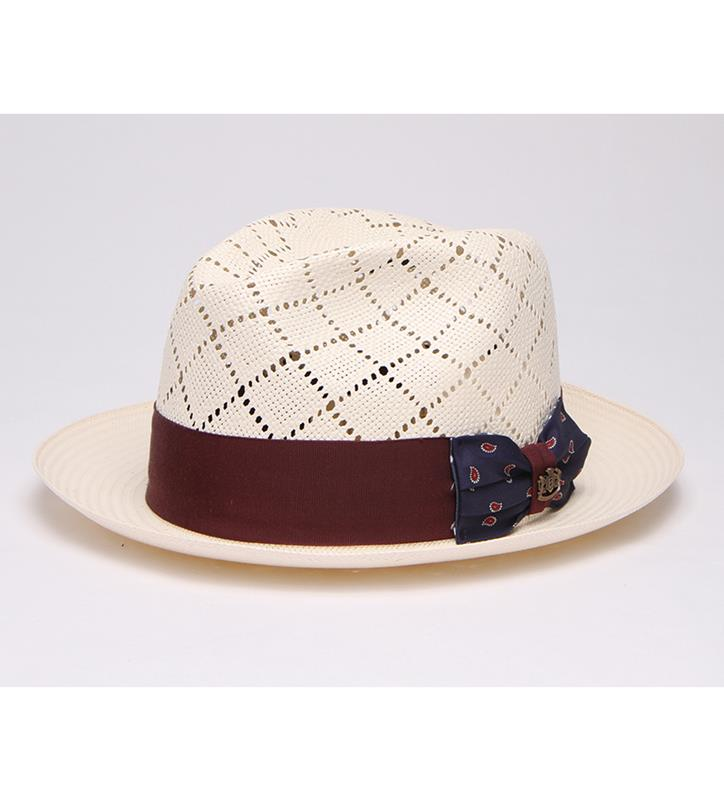 """Dartmouth"" Vented Bowtie Fedora,BS 3F47KDDAR2-IVORY"