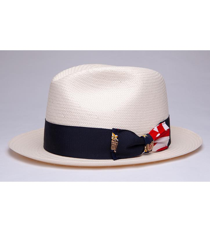 """Red, White & Blue"" Straw Fedora,BS 3447RWB-IVORY/BLU"