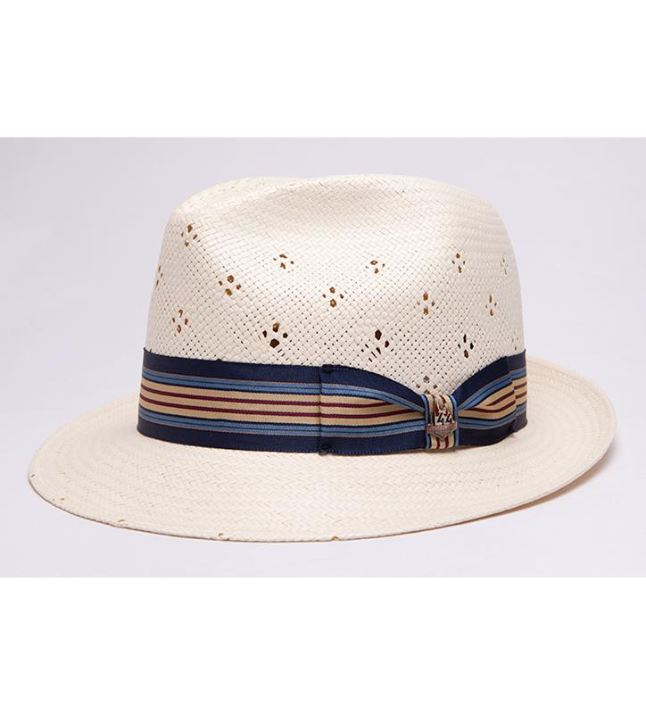 """DJ"" Vented Straw Fedora,BS 8T47KDDJ-IVORY"