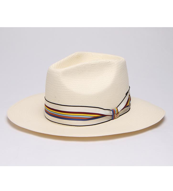 """Ready for the Season"" Vented Straw Fedora,BS 4310RFS-IVORY"