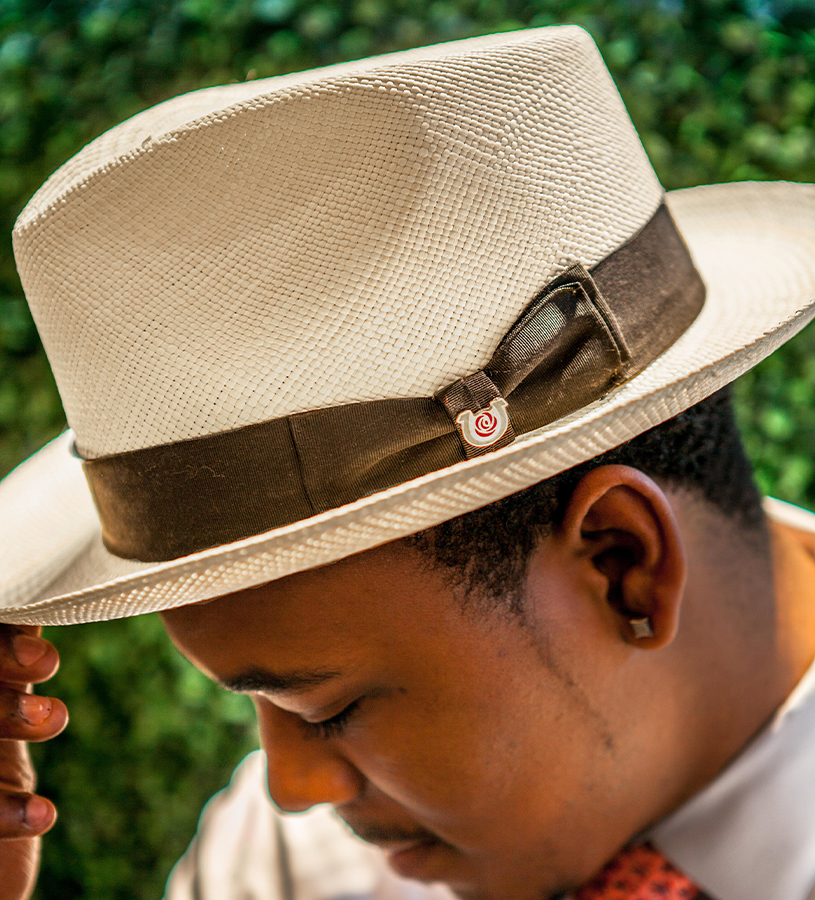 """Casa Blanca"" Straw Fedora,BS 5940KDCBLAD-BLEAC"