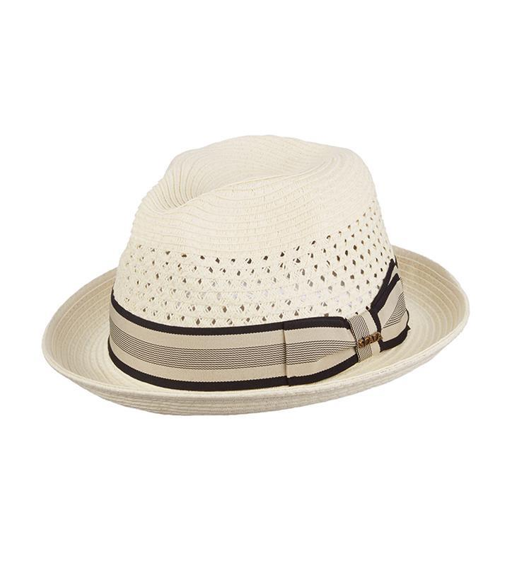 Vent Crown Braid Fedora,MS324-IVORY