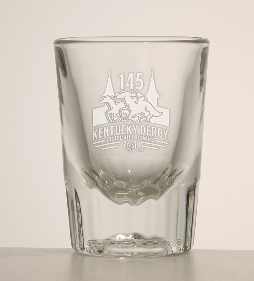Kentucky Derby 145 Fluted Shot Glass,01-300 LT ETCH  2 OZ