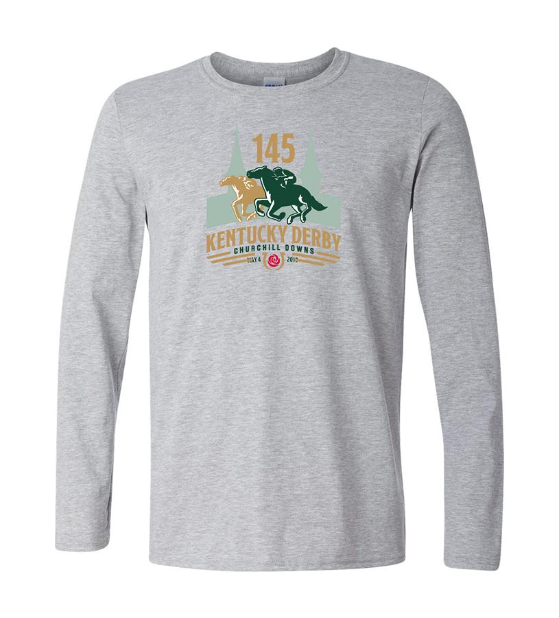 Kentucky Derby 145 Long-Sleeved Logo Tee,9KLSTSG SPORT GREY