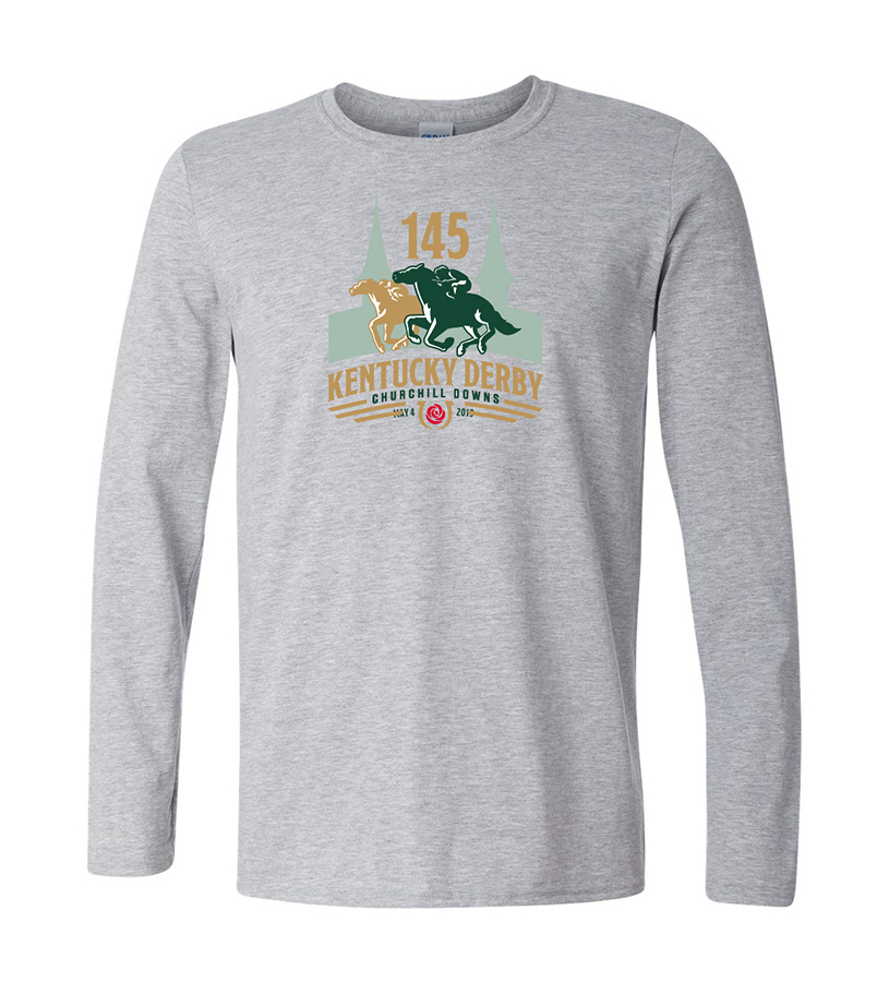 Kentucky Derby 145 Long-Sleeved Logo Tee,9KLSTSG SPORT GREY