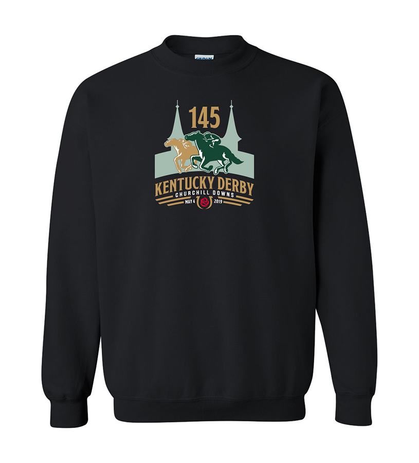 Kentucky Derby 145 Logo Crewneck Sweatshirt,9KSB BLACK
