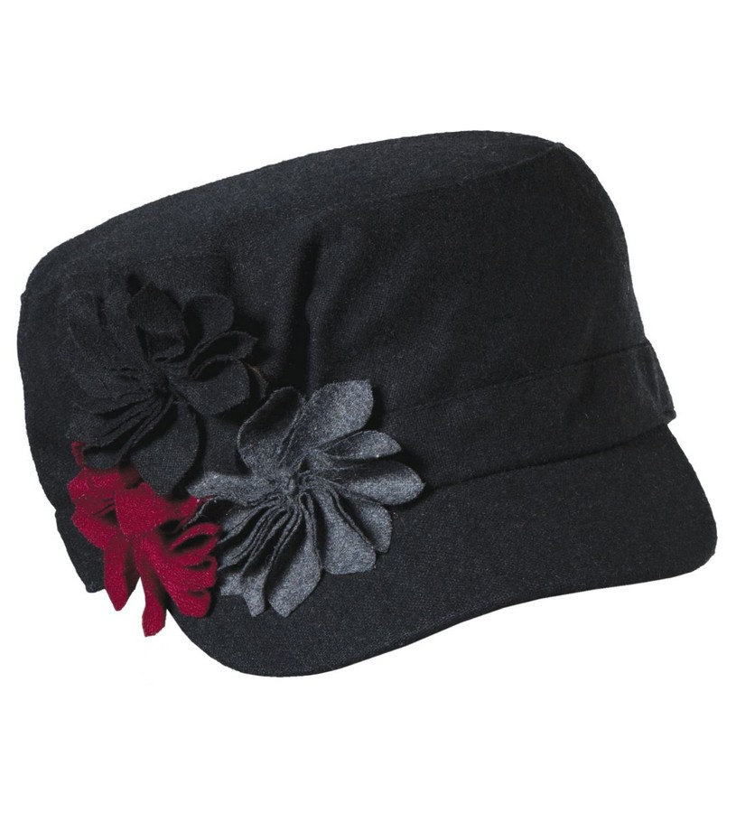 Ladies' Felt Flower Cadet Cap,LW547-ASST