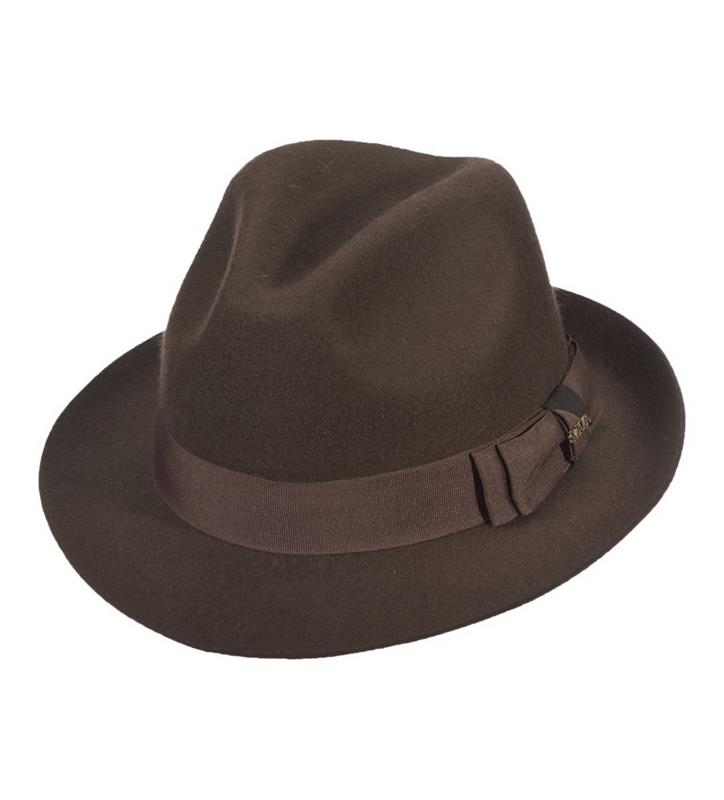 Men's Raw Edge Fedora,DF168-BROWN