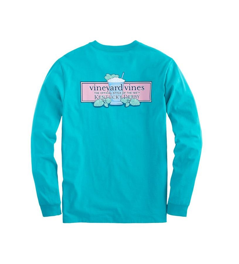 Kentucky Derby 2019 Long-Sleeved Mint Julep Tee,Kentucky Derby 145-2019 Vineyard Vines Collection,1V000087 CARRIBBEAN
