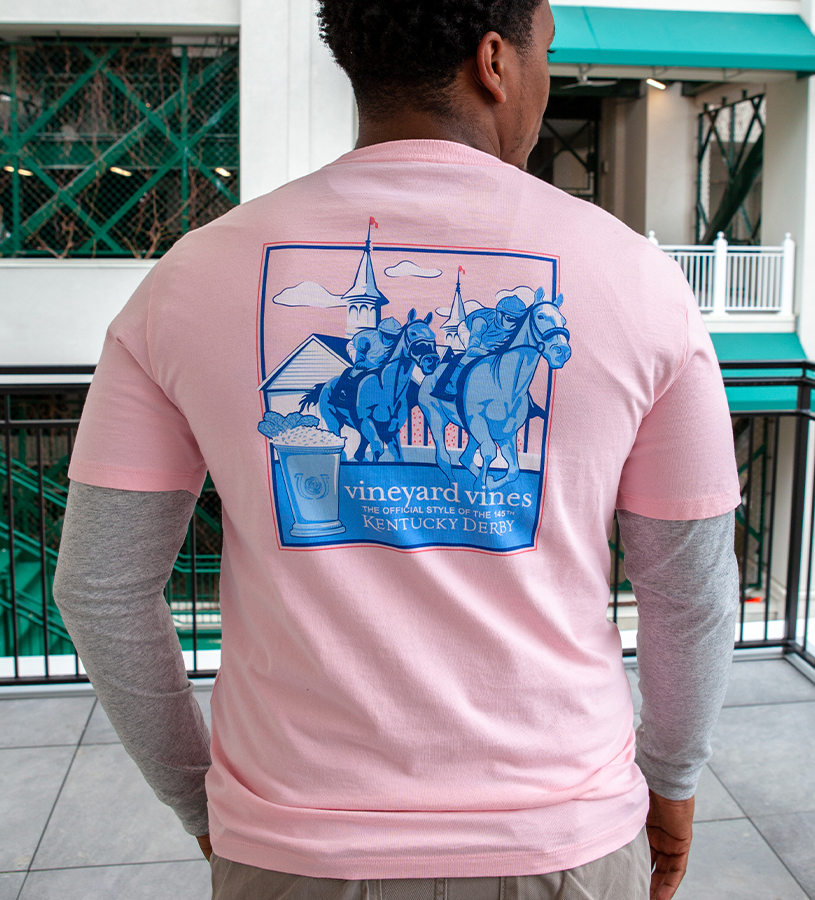 Kentucky Derby 2019 Around the Bend Tee,Kentucky Derby 145-2019 Vineyard Vines Collection,1V000091 FLAMINGO