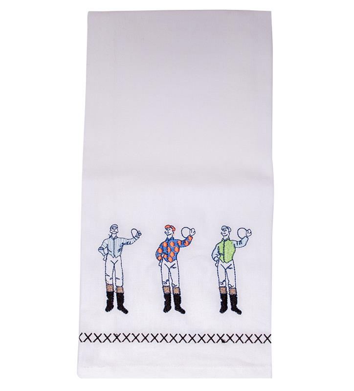 Three Jockeys Embroidered Tea Towel,3352180 TEA TOWEL