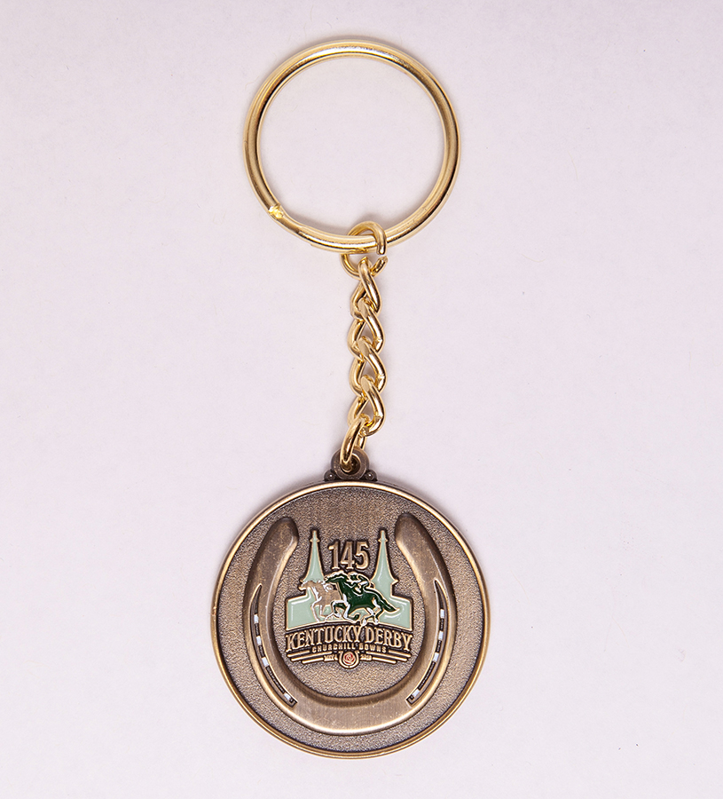Kentucky Derby 145 Coin Key Ring,9KDCK GOLD METAL