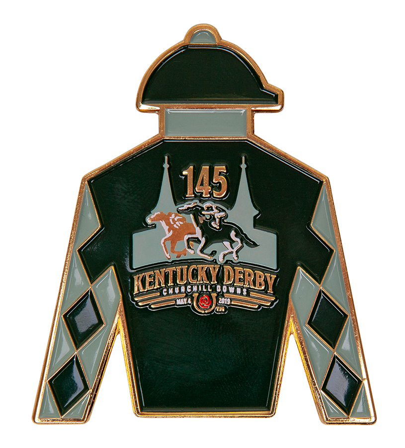 Kentucky Derby 145 Silks Magnet,9KMSM GOLD METAL