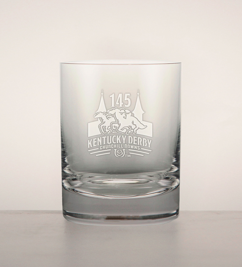 Kentucky Derby 145 Etched Round Double Old Fashioned Glass,01-304 LT ETCH 14 OZ