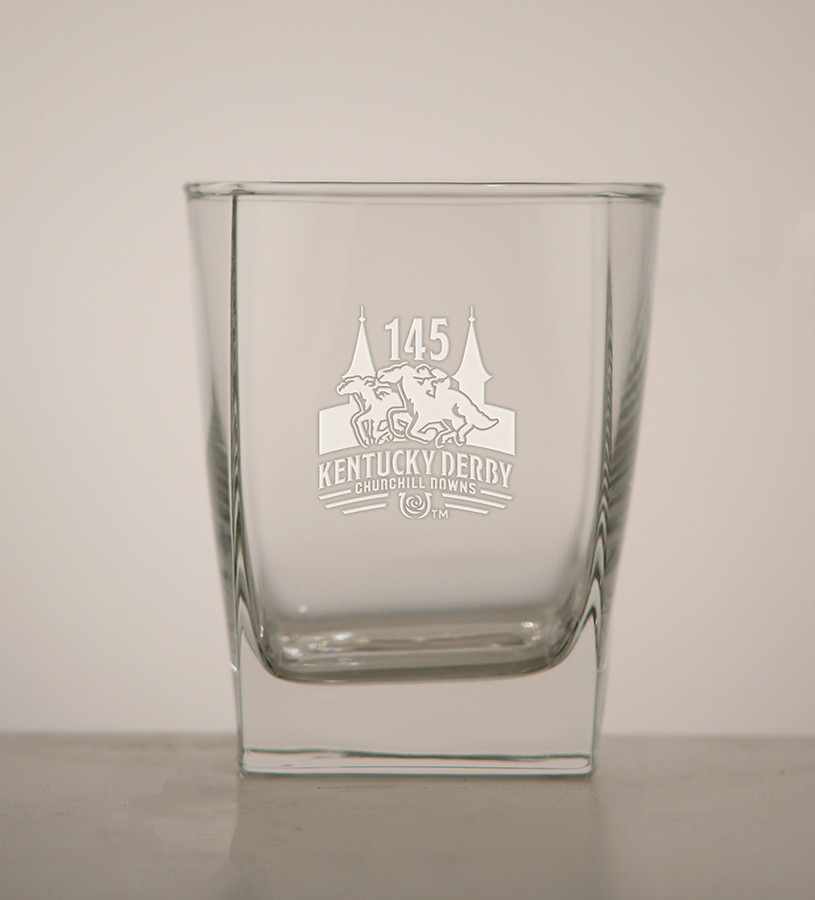 Kentucky Derby 145 Etched Square Double Old Fashioned Glass,03-204 LT ETCH 14 OZ