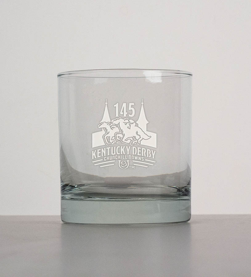 Kentucky Derby 145 Etched On the Rocks Boxed Set of 2,01-302 LT ETCH 2-SET