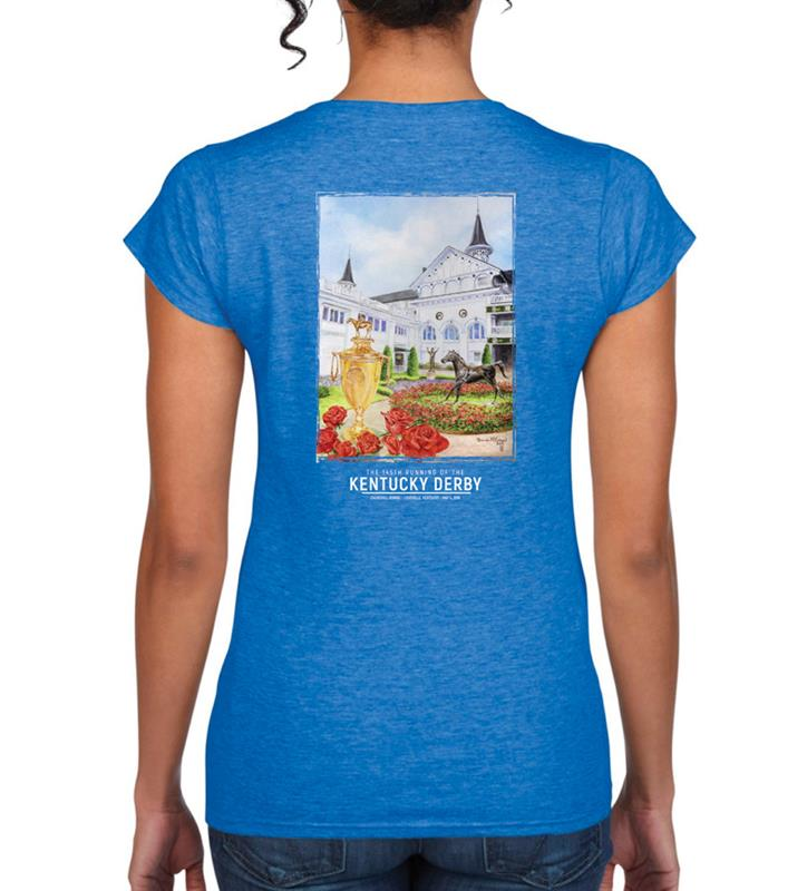 2019 Art of the Derby Ladies' V-Neck Tee,Kentucky Derby 145-2019 Art of the Derby,AOTD LADIES TEE