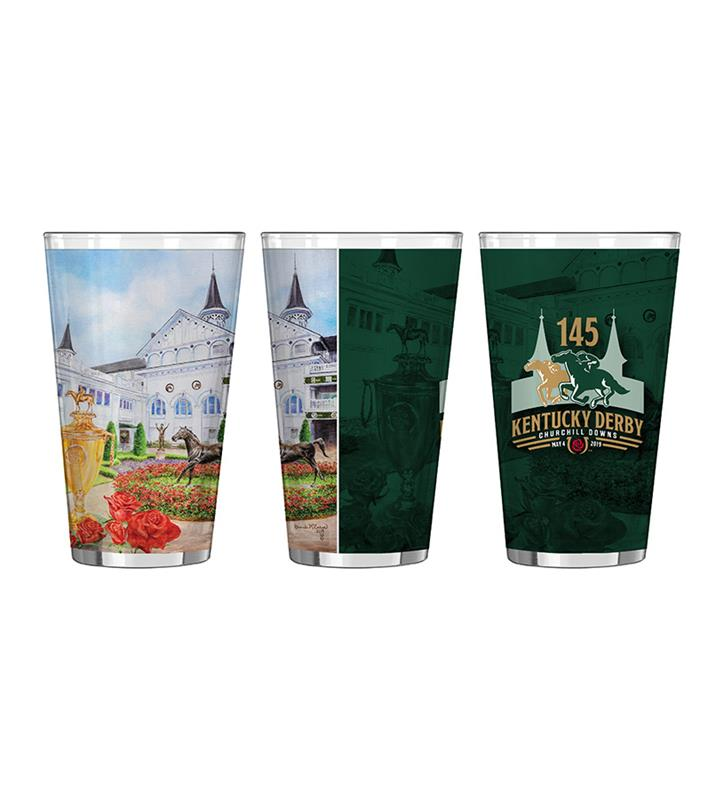 2019 Art of the Derby Sublimated Pint Glass,Kentucky Derby 145-2019 Art of the Derby,AOTD PINT GLASS