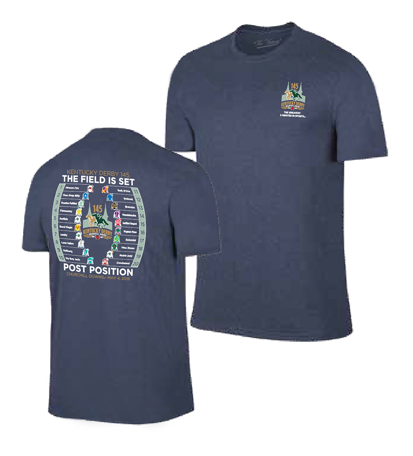 Kentucky Derby 145 Post Position Tee,TV7051-NAVY