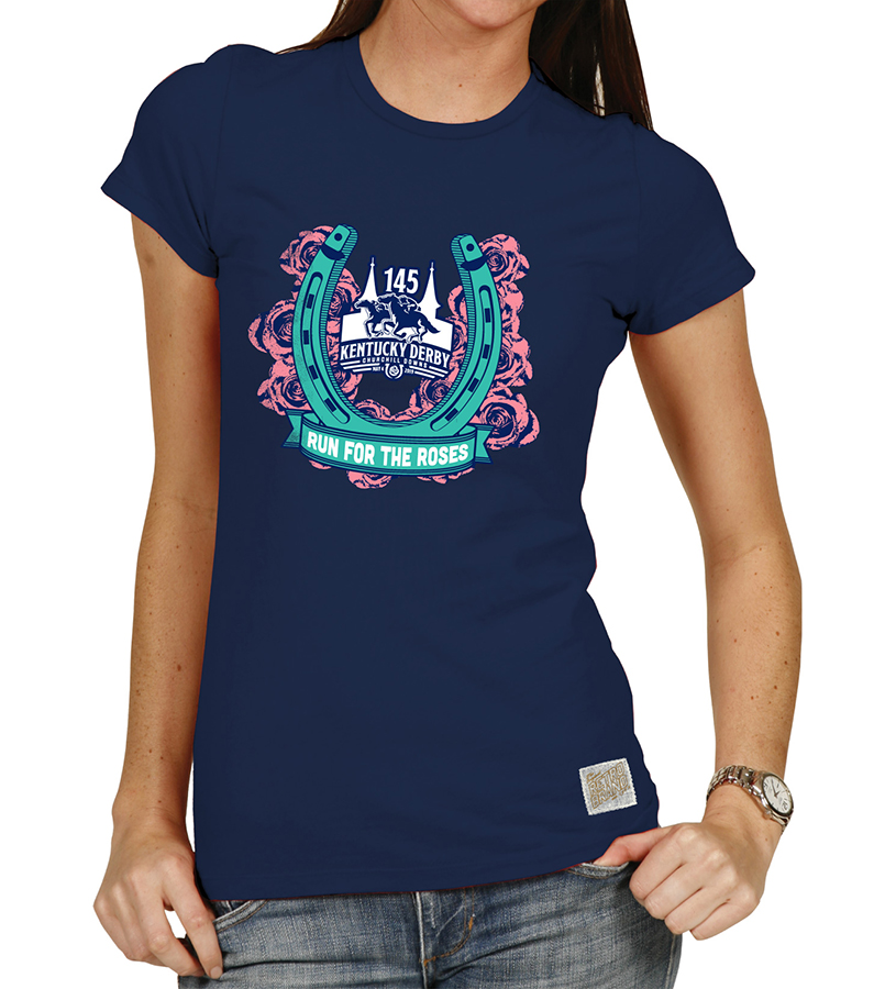 Kentucky Derby 145 Run for the Roses Vintage Crew Tee Navy,RB1727-052318RES10