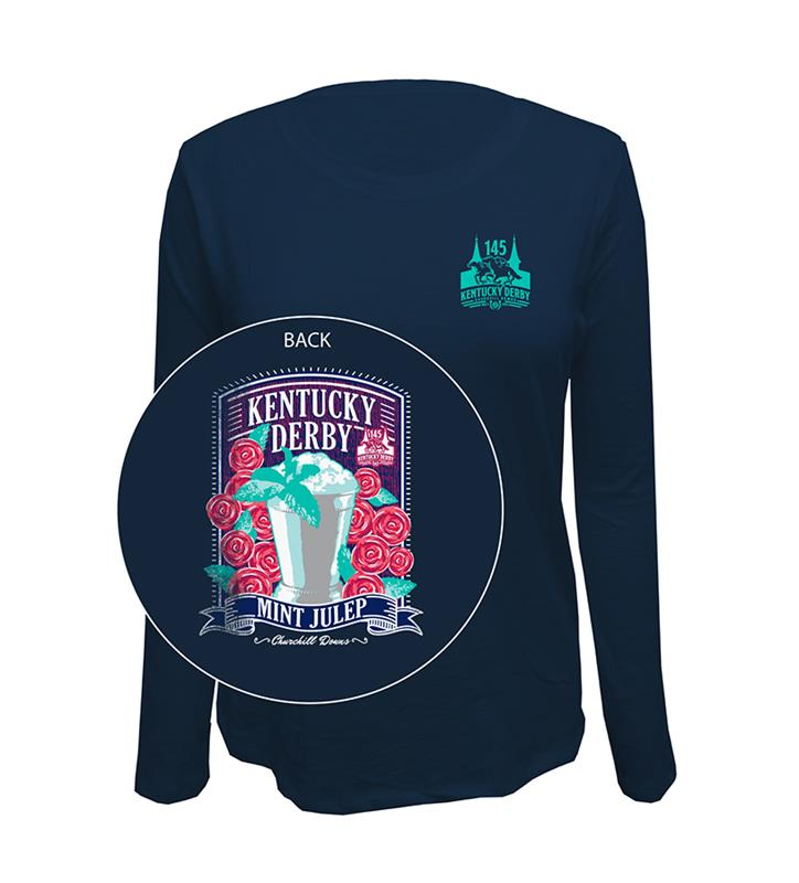 Kentucky Derby Mint Julep Navy L/S Slub Tee,Retro Brands,RBH2447-052318RES09