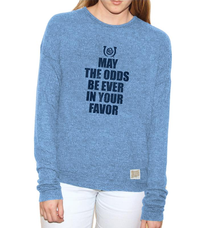 May The Odds Ladies Carolina Blue Washed Haachi Crew,RB1979-061818LMN05
