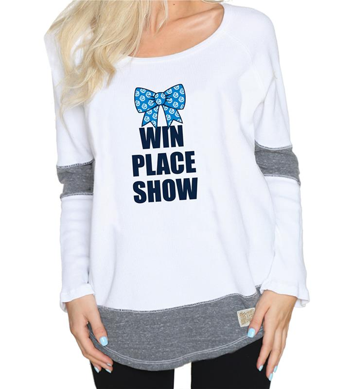 Win Place Show Ladies STG/WHT Boyfriend Thermal,RB1906-061818LMN06