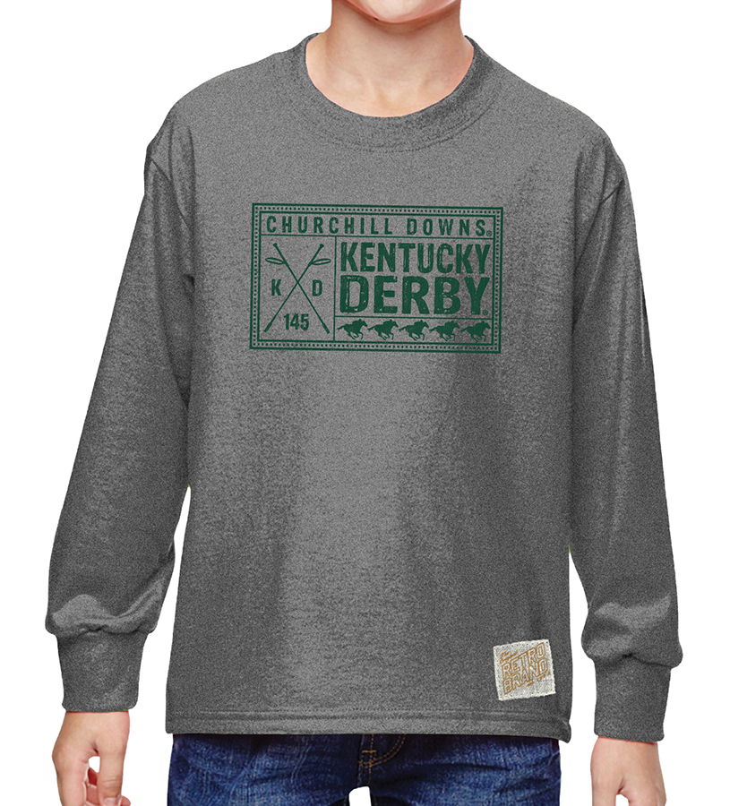 Kentucky Derby 145 Churchill Downs Youth Heather Grey Twist,RB424B-061818LMN30