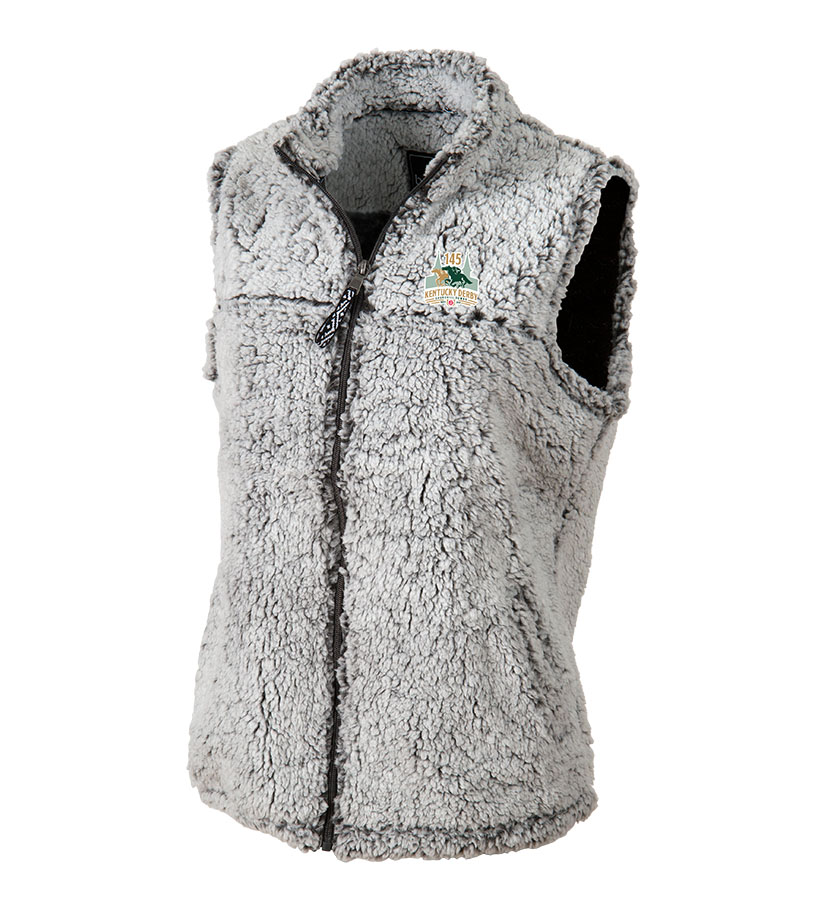 Kentucky Derby 145 Lds Full Zip Sherpa Vest,Q11FGR-145LOGO