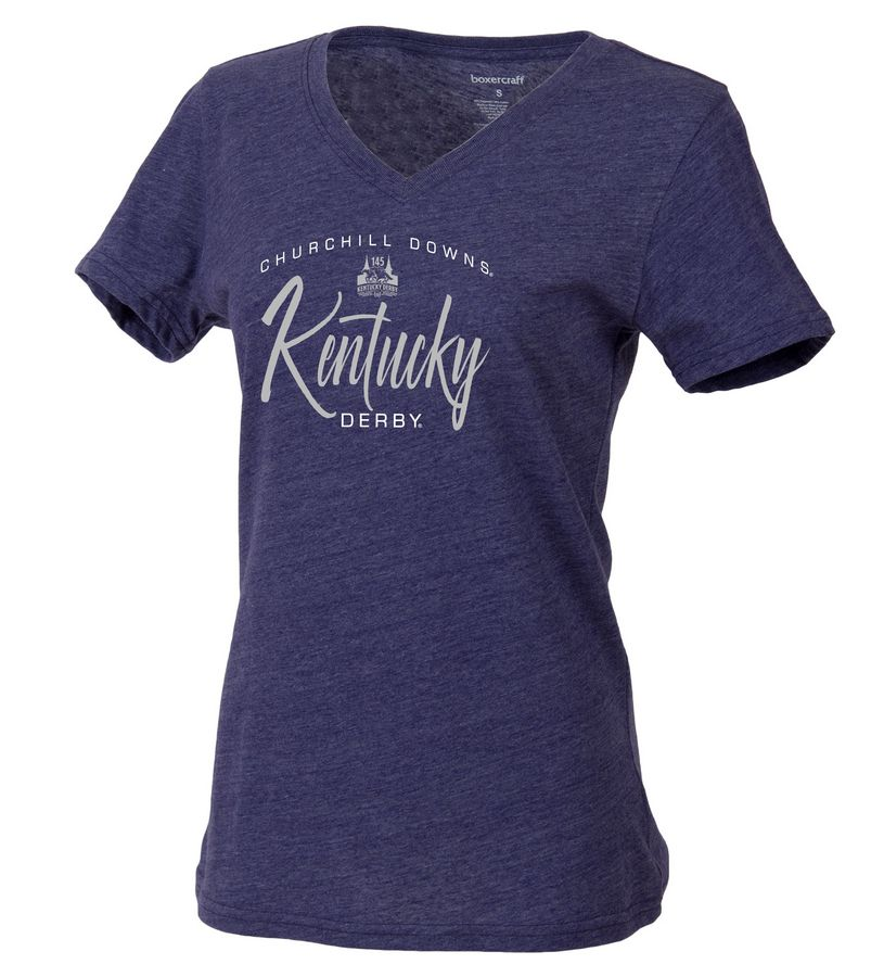 Kentucky Derby 145 Relaxed Script V-Neck Tee,T23NVH-134545