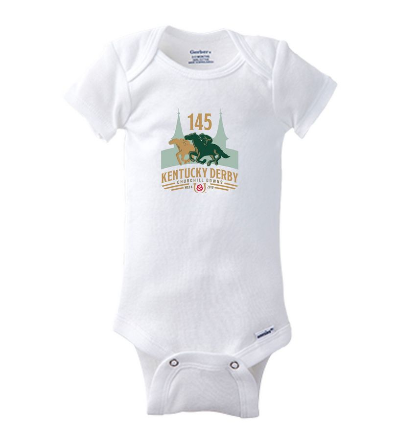 Kentucky Derby 145 S/S Onesie,GR01WHT-145FULL COLO