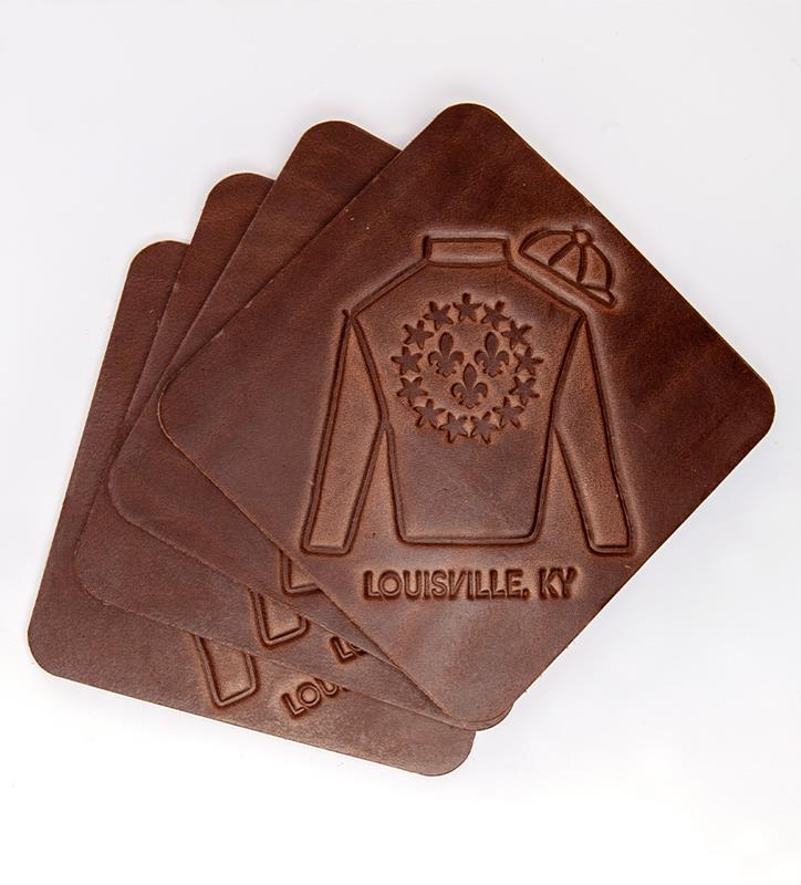 Louisville Silks Coasters Leather Coaster by Clayton & Crume