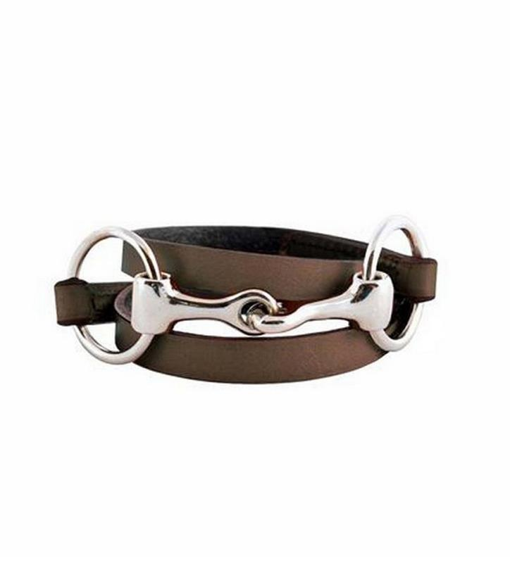 Leather Wrap Bracelet w/Stainless Bit Accent by Rebecca Ray,Rebecca Ray,RR7005-BROWN