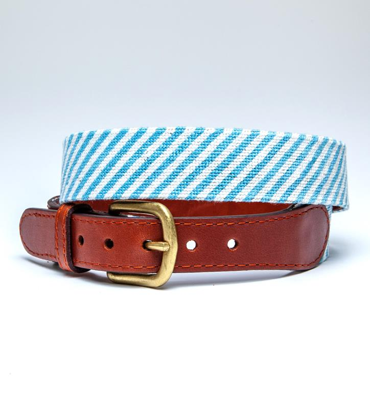 Blue Seersucker Belt by Smathers & Branson,Smathers & Branson,BLUE SEERSUCKER BELT