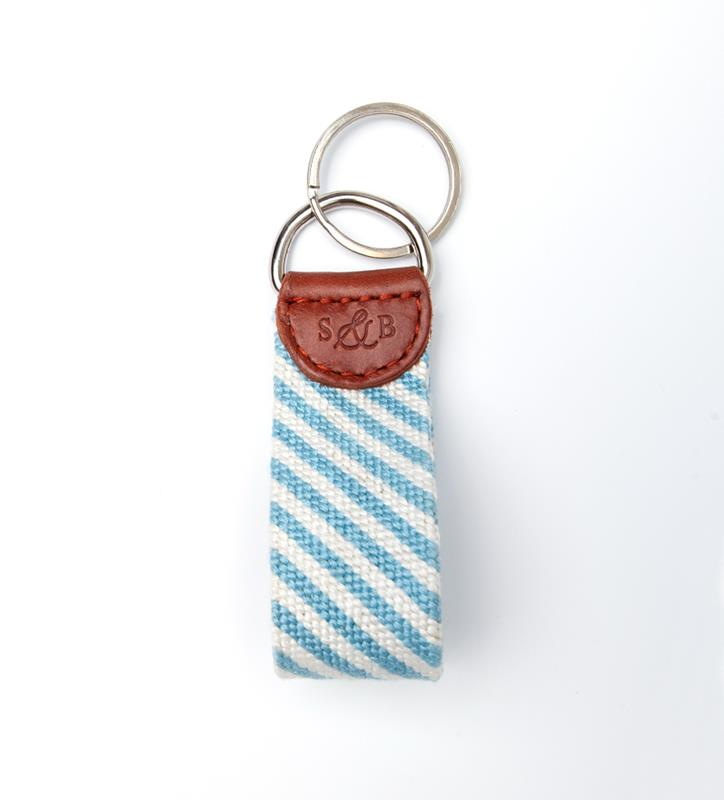 Blue Seersucker Key Fob by Smathers & Branson,SEERSUCKER  KEY FOB