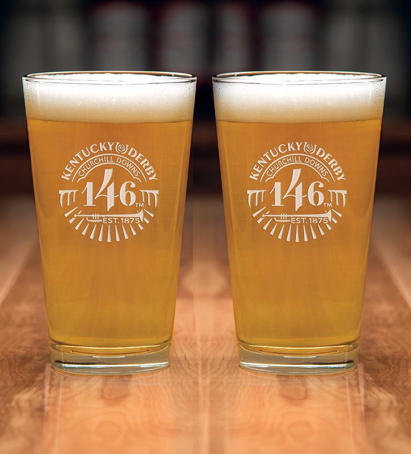 Kentucky Derby 146 Etched Ale Glass,01-355 LT ETCH 16OZ