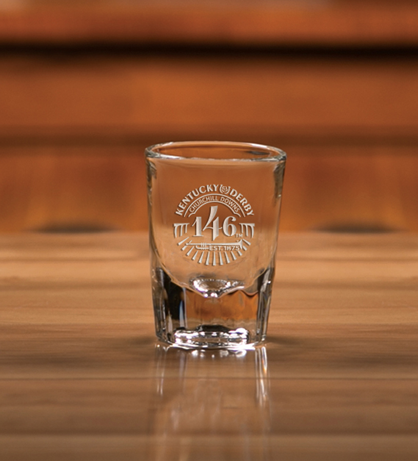 Kentucky Derby 146 Fluted Shot Glass,01-300 LT ETCH  2 OZ