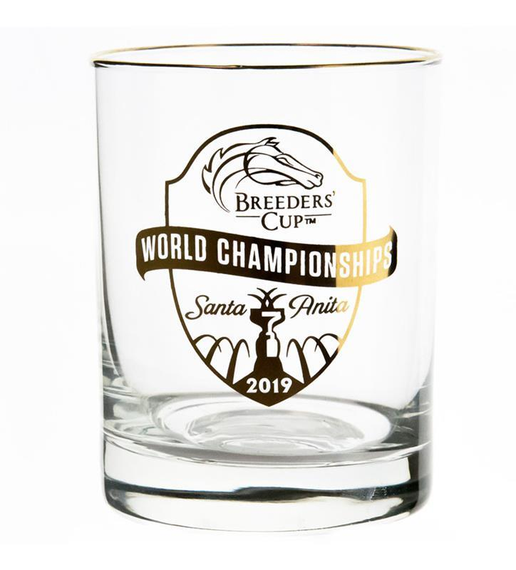 2019 Breeders Cup Event Logo Gold Rim Glass